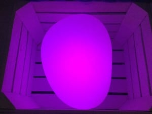 Solar lamp - Flattened sphere stone egg LED RGB colored small 4