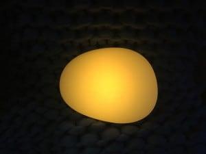 Solar lamp - Flattened sphere stone egg LED RGB colored small 5
