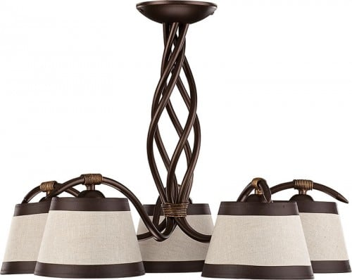 Hanging lamp Alba brown E27 5 x 60W