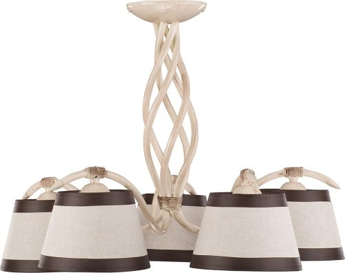 Hanging lamp Alba 5 Cream brown E27 5 x 60W