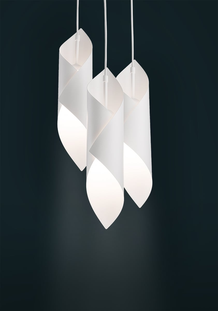 Helios hanging lamp 3 Overhang Circle White White E27 3 x 60W