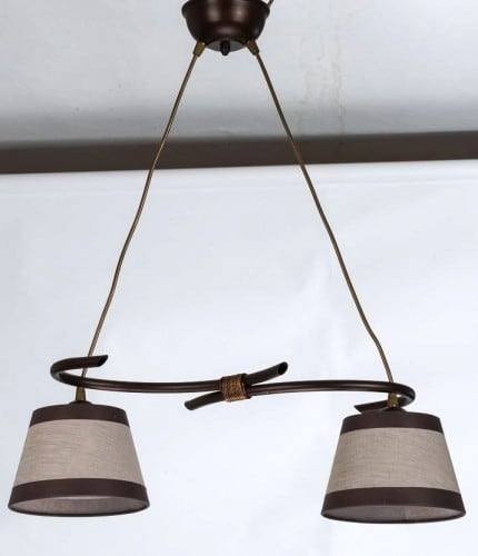 Hanging lamp Niki 2 Overhang Brown E27 2 x 60W