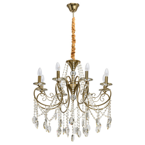 Hanging lamp Selena Crystal 8 Brass - 482016408