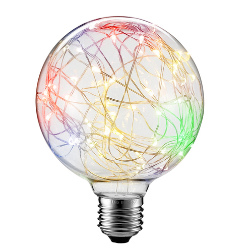 Decorative LED skylight bulb G125 E27 2W 230V RGB
