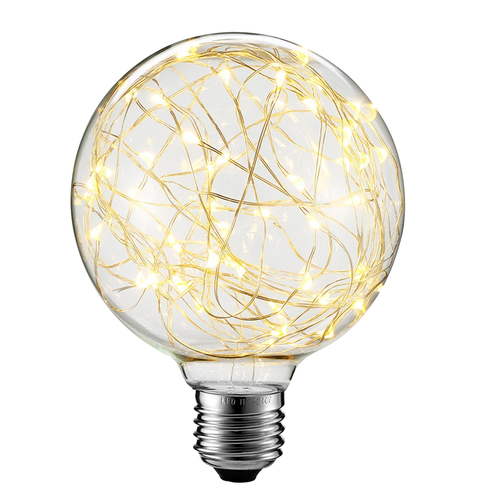 Decorative LED skylight bulb G125 E27 2W 230V Yellow