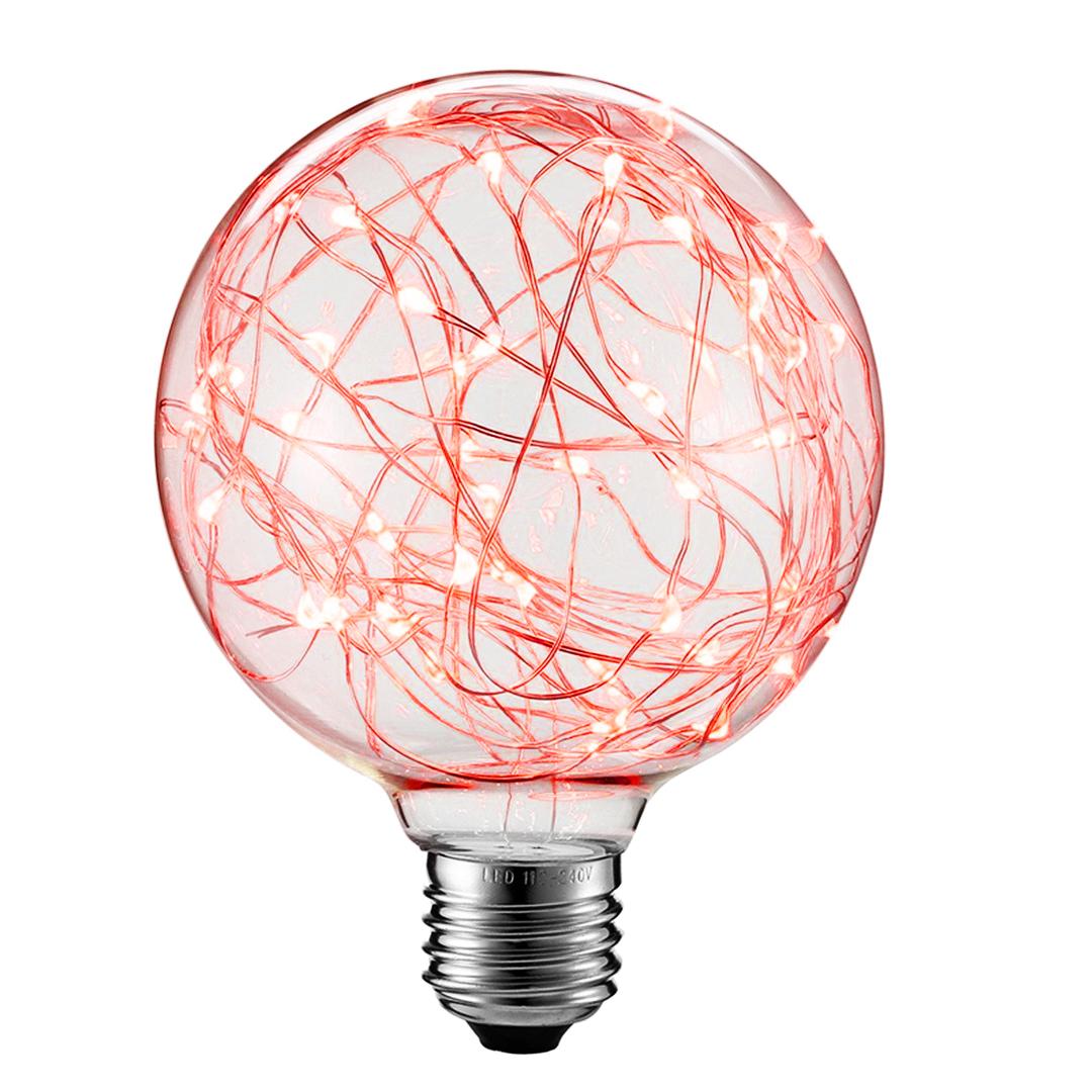 Decorative LED skylight bulb G80 E27 2W 230V Red