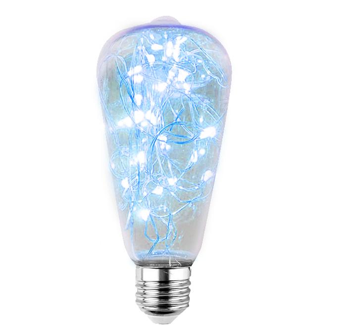 Decorative LED skylight bulb ST64 E27 2W 230V Blue