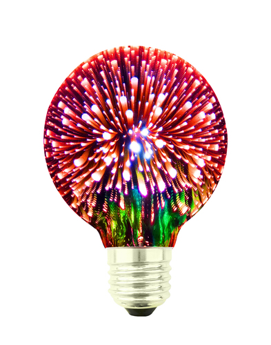 Decorative LED Bulb 3D Fireworks G80 E27 4W 230V Red