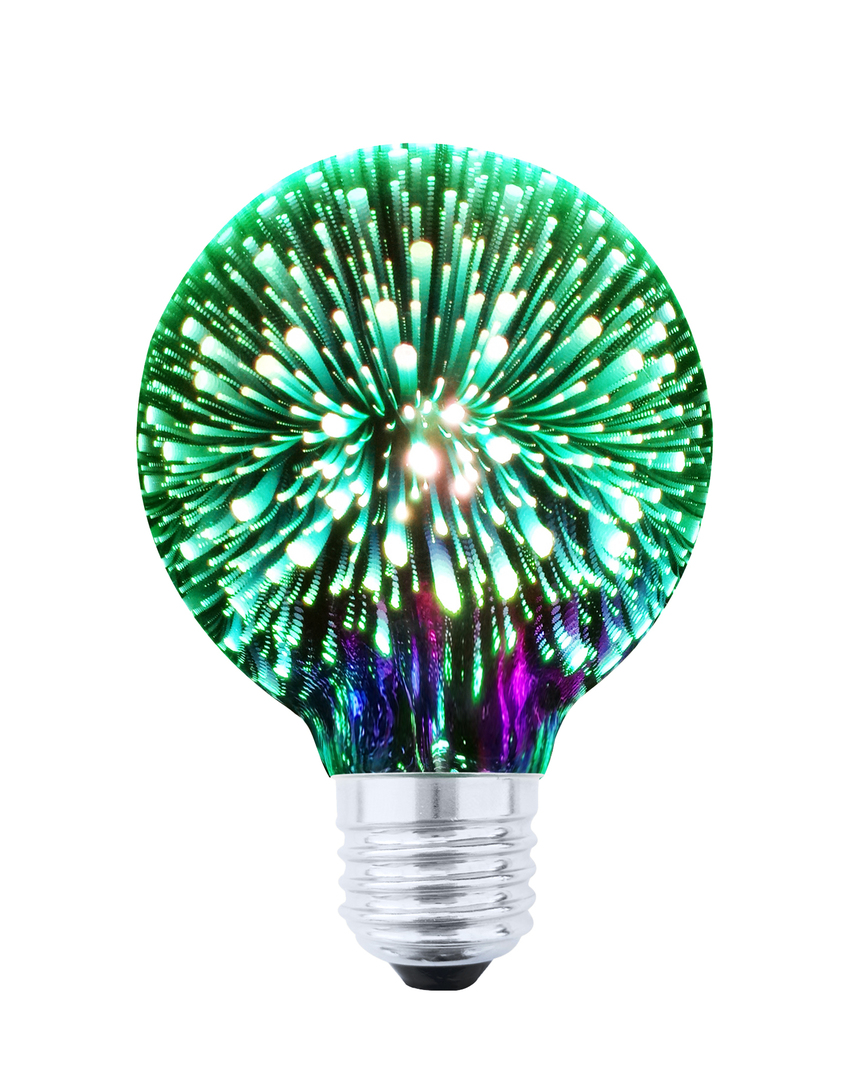 Decorative LED Bulb 3D Fireworks G80 E27 4W 230V Green