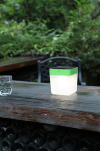 Solar table lamp Lutec TABLE CUBE green small 1