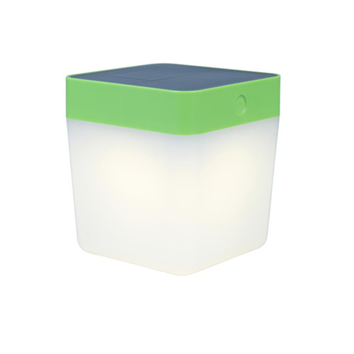 Solar table lamp Lutec TABLE CUBE green