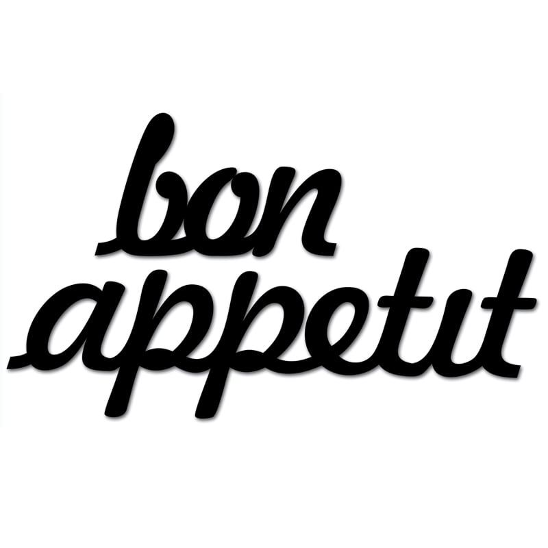Inscription on the wall BON APPETIT black