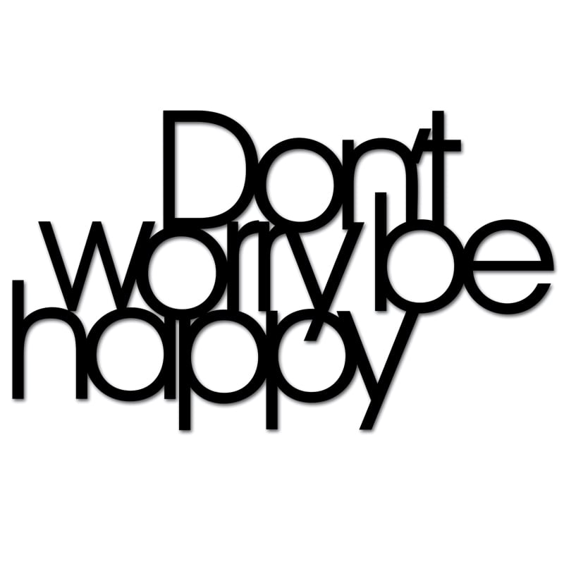 Inscription on the wall DON`T WORRY BE HAPPY black
