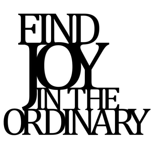 The inscription on the wall FIND JOY IN THE ORDINARY black