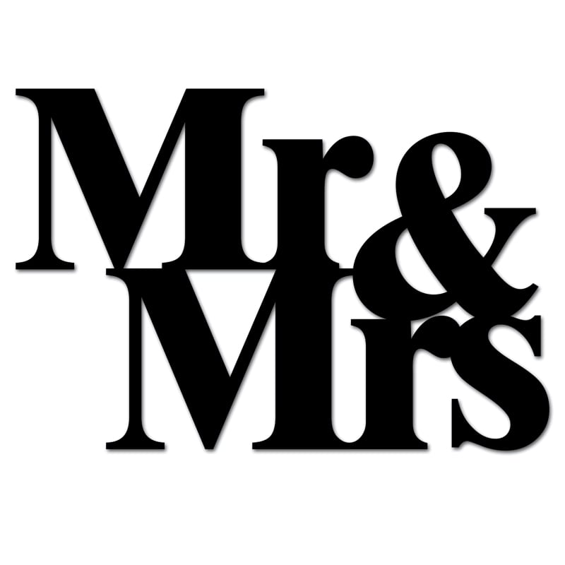 Lettering on the wall MR & MRS black