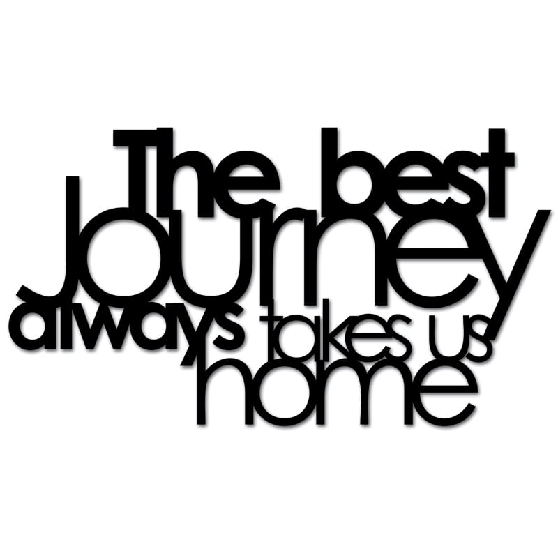 Inscription on the wall THE BEST JOURNEY ALWAYS TAKES US HOME black