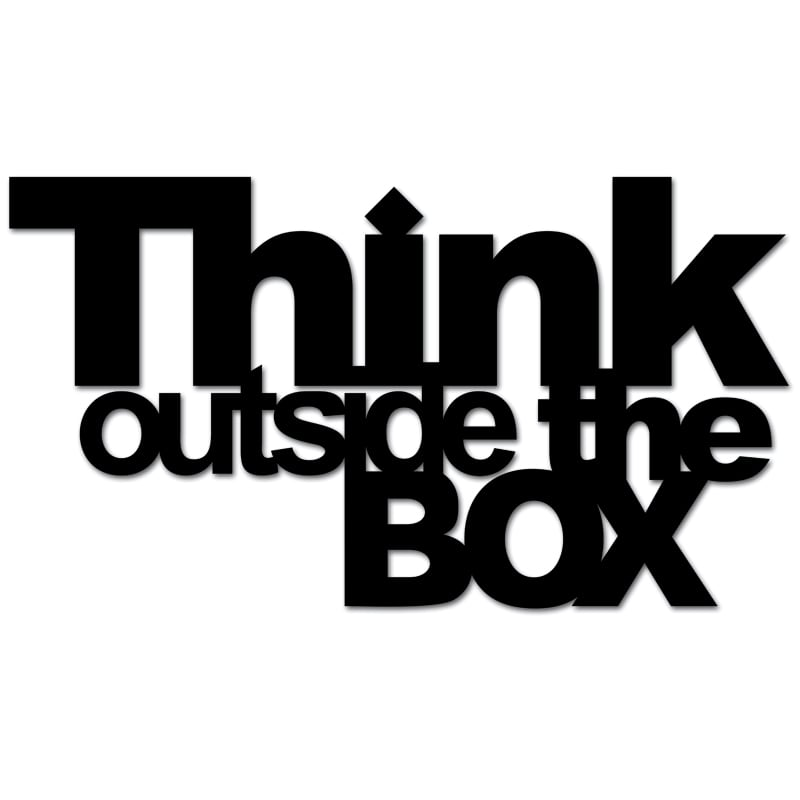 Inscription on the wall THINK OUTSIDE THE BOX black