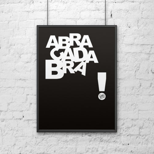 Decorative poster 50x70 cm ABRACADABRA black