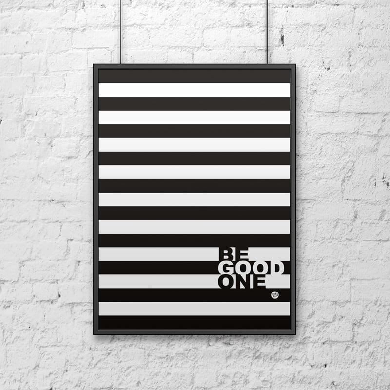 Decorative poster 50x70 cm BE GOOD stripes