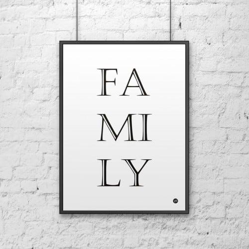 Decorative poster 50x70 cm FAMILY white