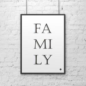 Plakat dekoracyjny 50x70 cm FAMILY biały