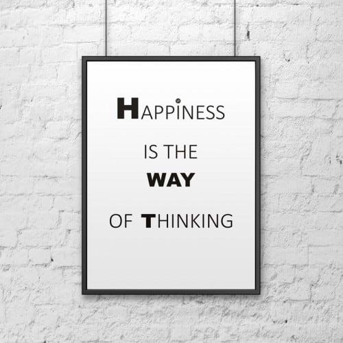 Decorative poster 50x70 cm HAPPINESS IS THE WAY OF THINKING white