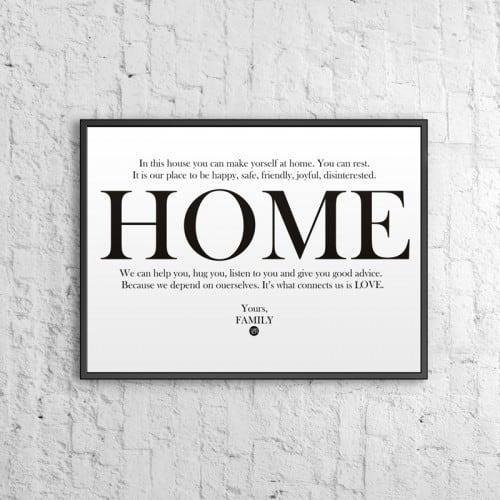 Decorative poster 50x70 cm HOME white