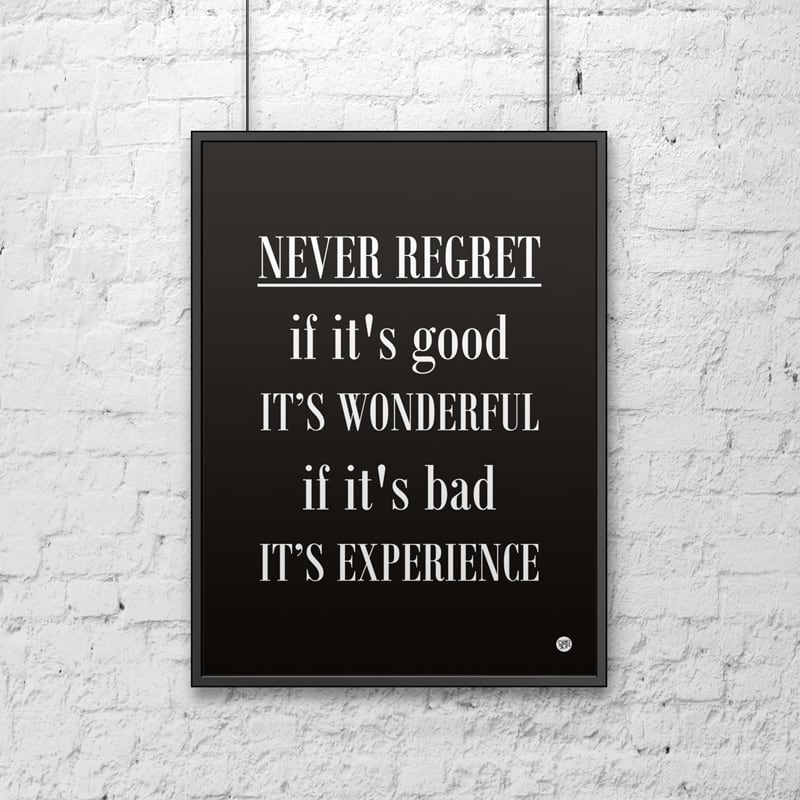 Decorative poster 50x70 cm NEVER REGRET black
