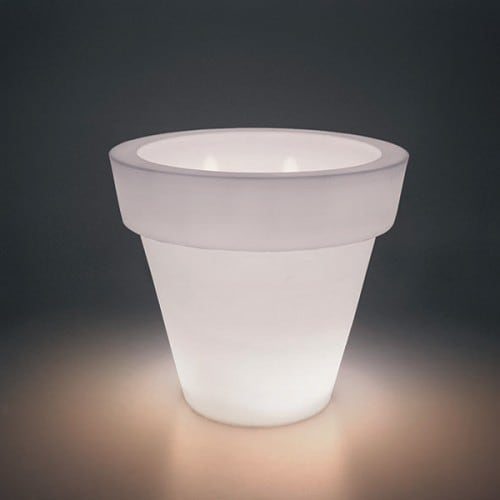 Illuminated flowerpot Bordato Liscio