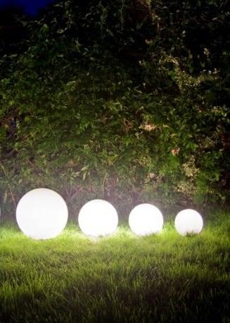 A set of decorative garden balls - Luna Balls 20, 25, 30, 40 cm + Led Bulbs