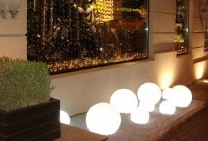 A set of decorative garden balls - Luna Balls 20, 25, 30, 40 cm + Led Bulbs small 2