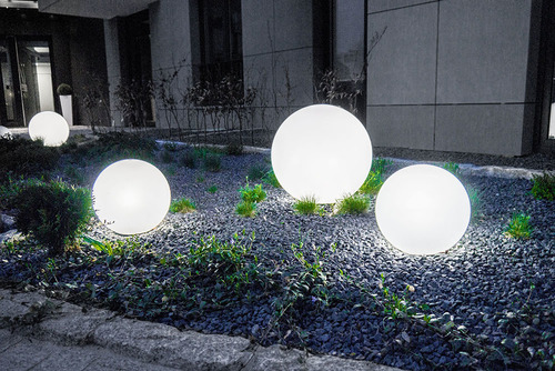 A set of decorative garden balls - Luna Balls 20, 25, 30, 40 cm + Led Bulbs