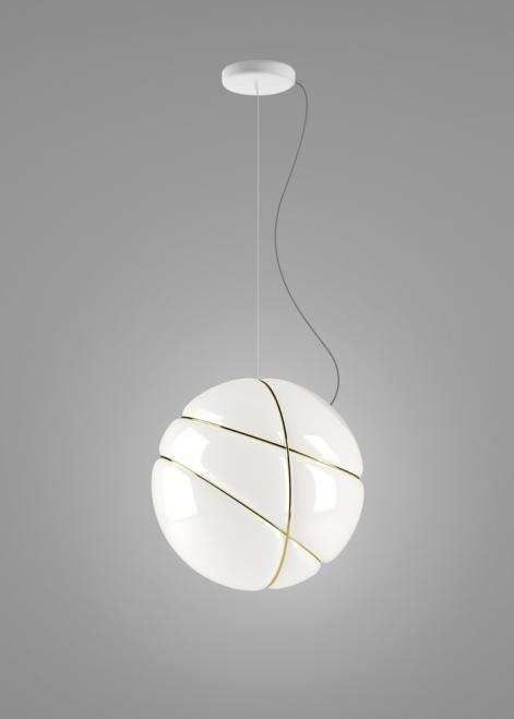 Hanging lamp Fabbian Armilla F50 13W - white and gold - F50 A05 01