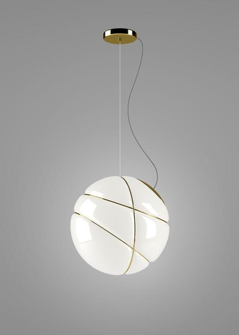 Hanging lamp Fabbian Armilla F50 13W - Polished gold and white - F50 A05 12
