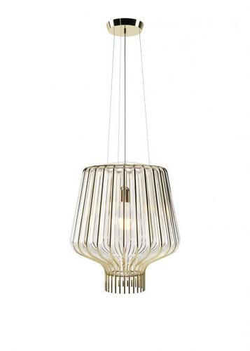 Hanging lamp Fabbian Saya F47 22W 40cm - Gold and transparent - F47 A21 00