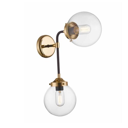 Zuma Line W0454-02D-SDAC RIANO WALL LAMP GOLD + BLACK + CLEAR