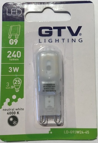GTV LED G9 3W 4000K bulb - dimmable