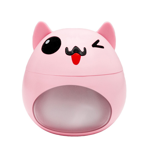 Pink LED humidifier in the shape of a cat with a fan and a USB lamp