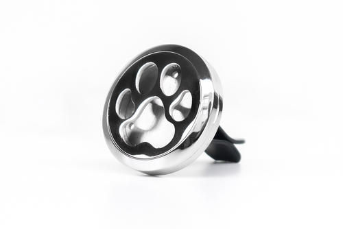 Decorative car air freshener, essential oil diffuser - Dog paw, stainless steel