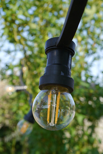 Garden Light Black String 20m 20 Lampholders