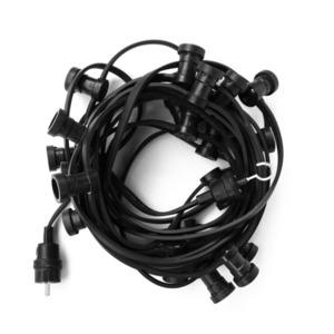 Black Garden Light String 20m - 40 Lampholders small 8