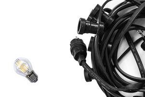Black Garden Light String 20m - 40 Lampholders small 9