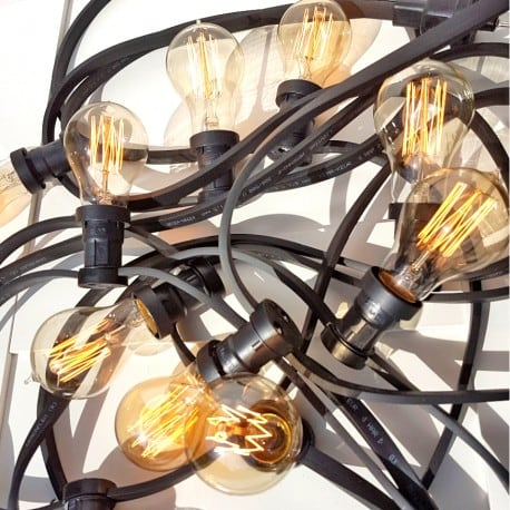 Black Garden Light String 30m 60 Lampholders