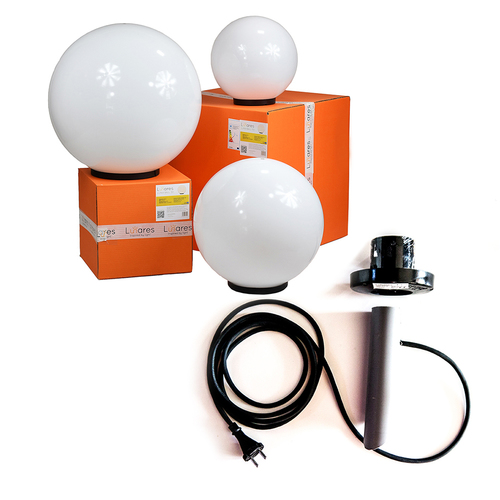 Set of decorative balls - Luna Ball 30, 40 ,50 cm with assembly set, 2m cable, fastening post + led