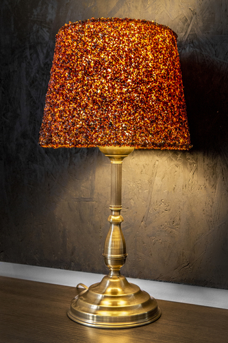 Table lamp made of natural amber, Ambra brass 60W E27 cable with plug