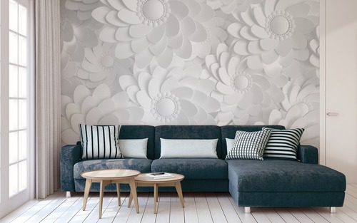 Wall mural White 3D flowers
