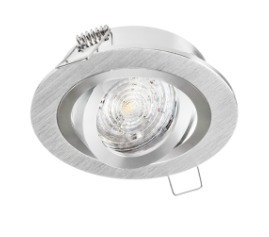 Recessed round luminaire with OPAL regulation, brushed aluminum