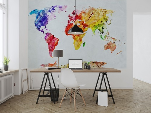 Wall mural Watercolor World Map