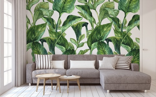 Wall mural Tropical leaves, shades of green on a white background, painted in watercolor, decoration
