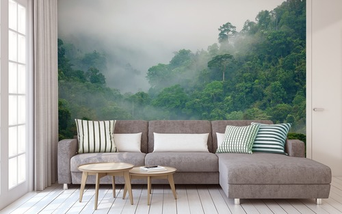 Wall mural spatial forest, enlarging the interior, decoration for the living room, bedroom, shades of green, fog